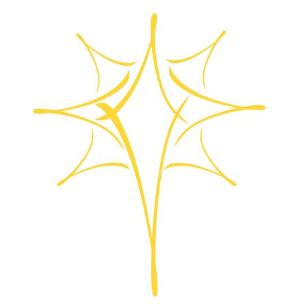 Yellow christmas star, abstract pattern on a white background Banco de Imagens