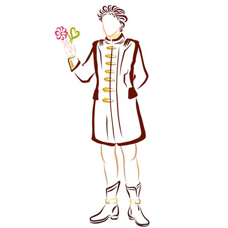 romantic man in a long jacket with a flower in his hand