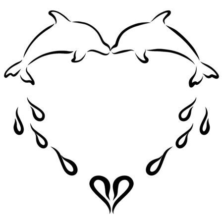 heart from a kiss of lovers dolphins and spray of water