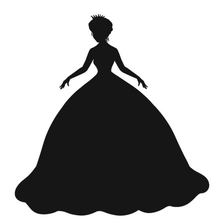 silhouette of a dancing princess or bride in a crown and a magnificent dress