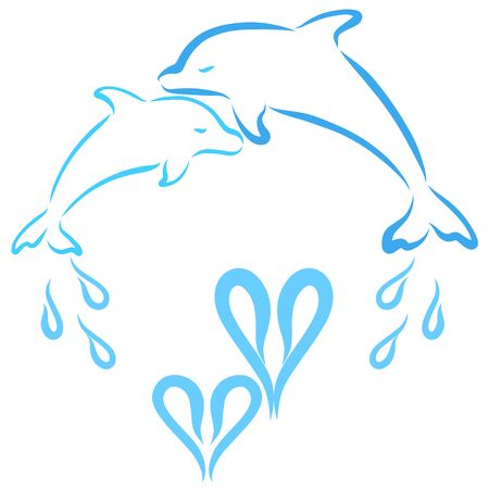 affectionate dolphins, parent and baby, and heart-shaped water drops