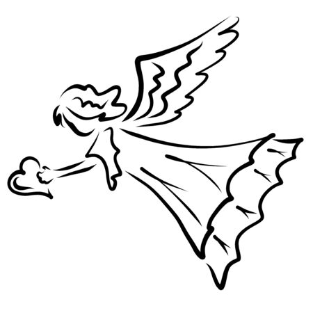 Angel flying with a heart in his hand, black outline