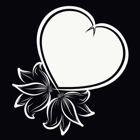 heart-shaped frame of flowers on a black background 写真素材