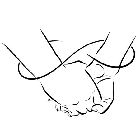 two hands and a connection in the form of an infinity line, trust