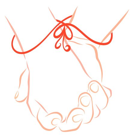 man and woman hold hands tightly bound by a ribbon with a heart-shaped bow 写真素材