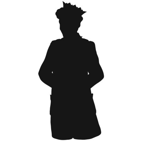 silhouette of a prince in a long jacket holding his hands behind his back 写真素材