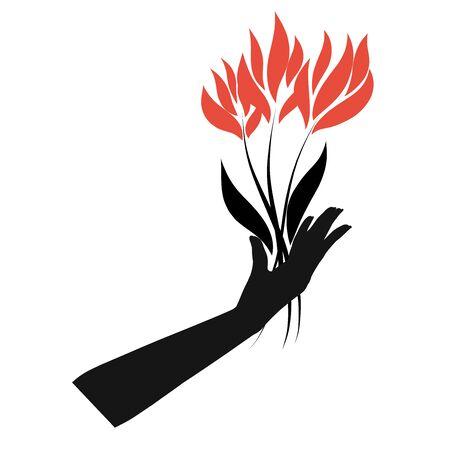 bouquet of fiery flowers in a female hand