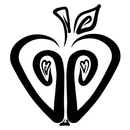 heart shaped apple, cut, black creative pattern
