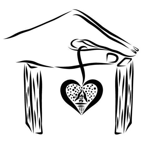 house with a hand instead of a roof and a heart-shaped window
