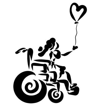 girl in a wheelchair and a heart-shaped balloon