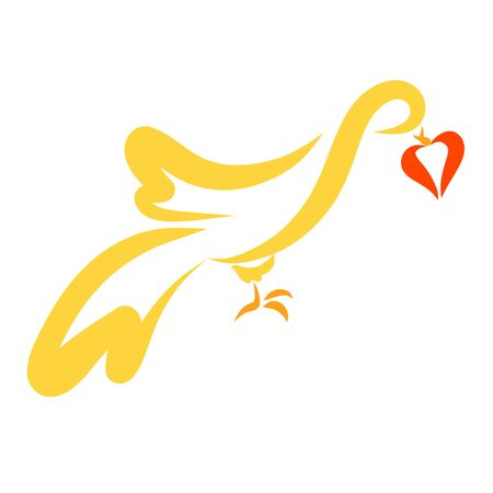 yellow dove with a heart in its beak 写真素材