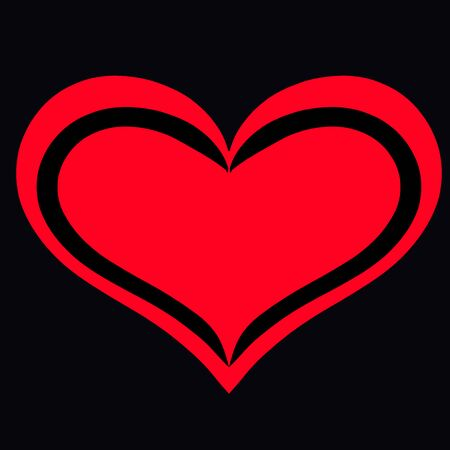 red heart on a black background, frame and background