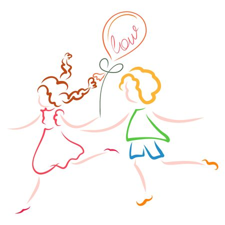 boy and a girl run or dance with a balloon that says Love