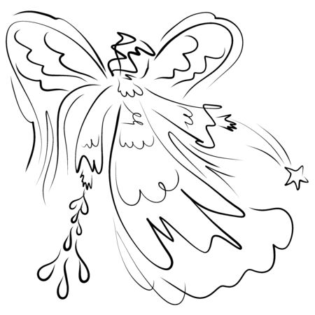 angel sending down a star and drops of water