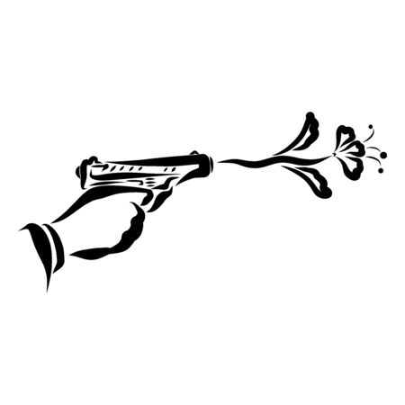 male hand shoots a pistol, a flower instead of a bullet