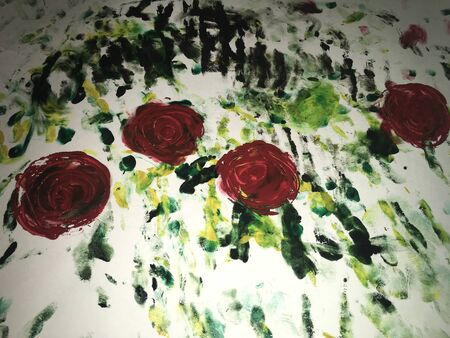 painted with watercolor paint a bouquet of red roses with green leaves