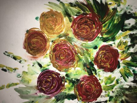 painted with watercolor paint a bouquet of red and yellow roses with green leaves