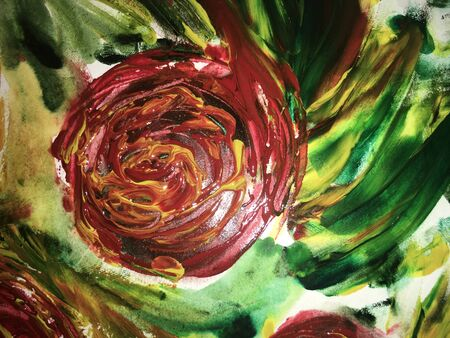 rose painted with red watercolor paint with green leaves on watercolor paper