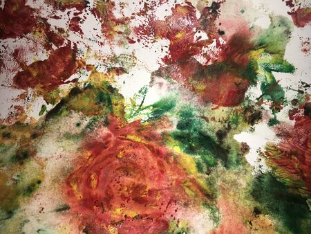 abstract roses painted with multicolor watercolor paint in grunge technique on watercolor paper