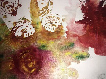 roses painted with watercolor on watercolor paper, grunge