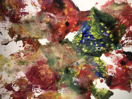 Abstract colorful background painted with watercolor paint in grunge technique on watercolor paper