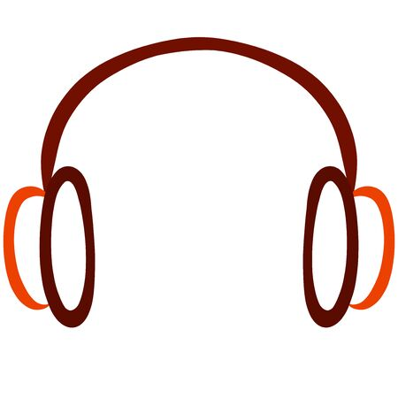headphones in brown and orange lines on a white background