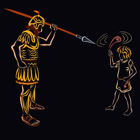 David spins a sling to throw a stone at Goliath