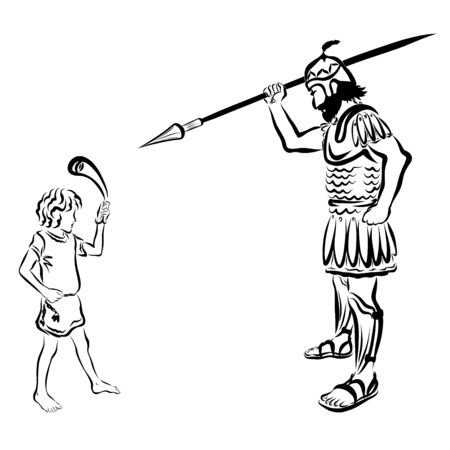 David with a sling, against Goliath with a spear Stock Photo