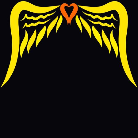 black background with two patterned wings and a heart