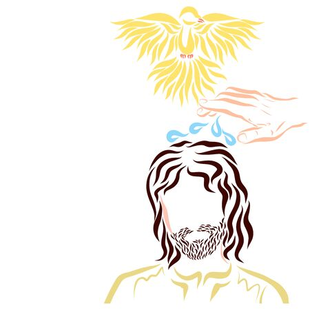 Holy Spirit in the form of a dove and a drop of water above the head of Christ