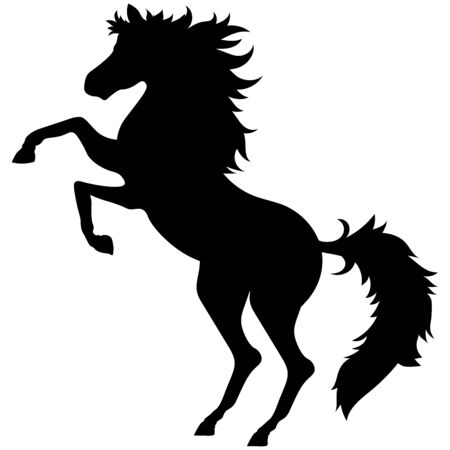 silhouette of a black horse standing and long hair with curls in a fluffy tail, valentines day 版權商用圖片