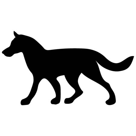 black silhouette of an animal walking dog with a long tail