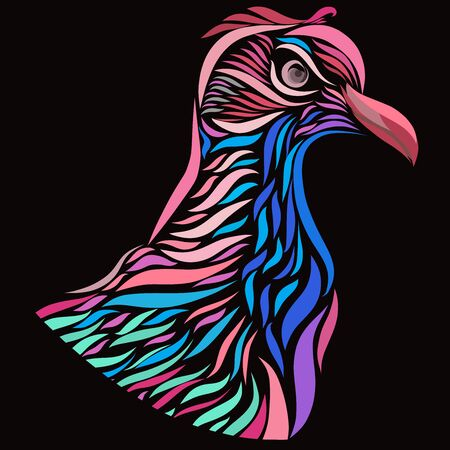 colorful bird with an angry look, pattern on a black background