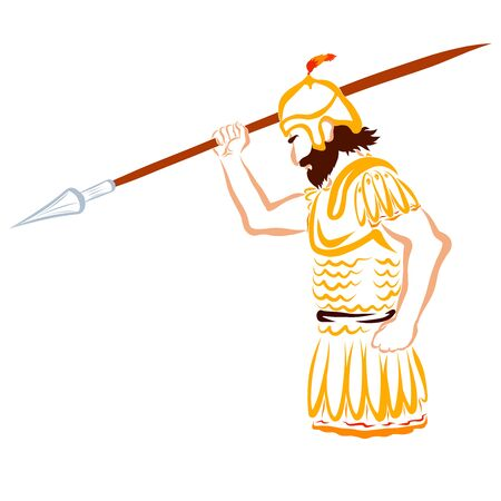 warrior in armor and with a spear in his hand
