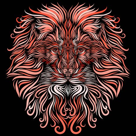 head of a proud lion with exquisite white and pink colored mane ornate