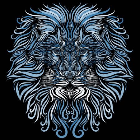 head of a majestic lion with a graceful expressive mane of turquoise and blue and white, richly decorated