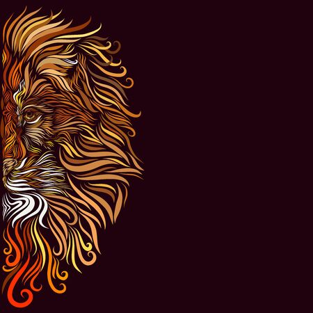 head of a regal African lion with a fluffy motley richly decorated with a mane of red and brown and white and orange and yellow