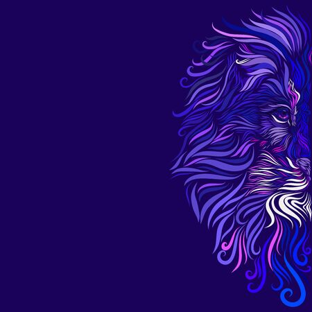 head of a majestic lion with a graceful expressive mane of purple and blue and white and pink flowers, ornate Stock Photo