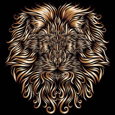 royal lion head with fluffy golden ornate mane