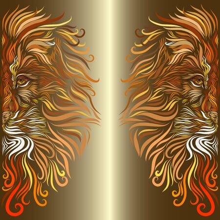 head of an african lion with fluffy motley ornate mane of red and brown and white and orange colors