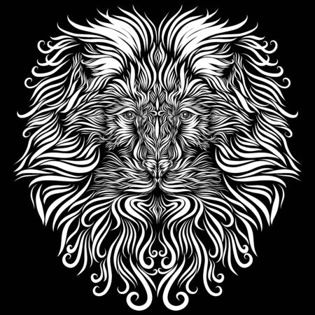 lion face with white mane ornament ornate tribal