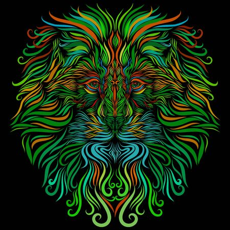 lion head with bright long ornate mane of green and blue and orange colors Stock Photo