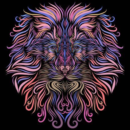 lion head, rainbow mane with long locks of lilac color, ornate Stock Photo