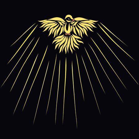 colombe jaune et brille sur fond noir
