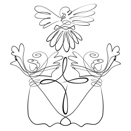 Two glorifying angels, cross and dove, christian symbolism with abstract chalice and shell Stock Photo