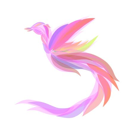 pink fairytale bird of paradise with elegant plumage flying flapping wings