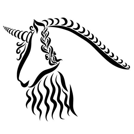 unicorn with a pigtail and a bow on a mane
