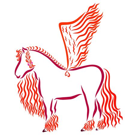 beautiful strong horse with wings and hairstyle, fiery
