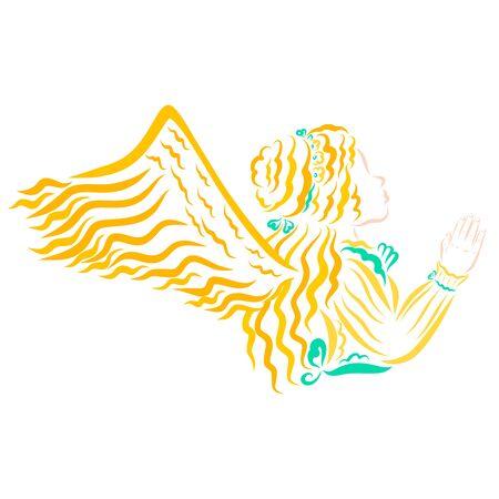 winged young princess waving hand looking up Zdjęcie Seryjne