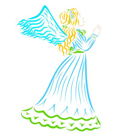 winged noble girl in a blue dress looks up and waves